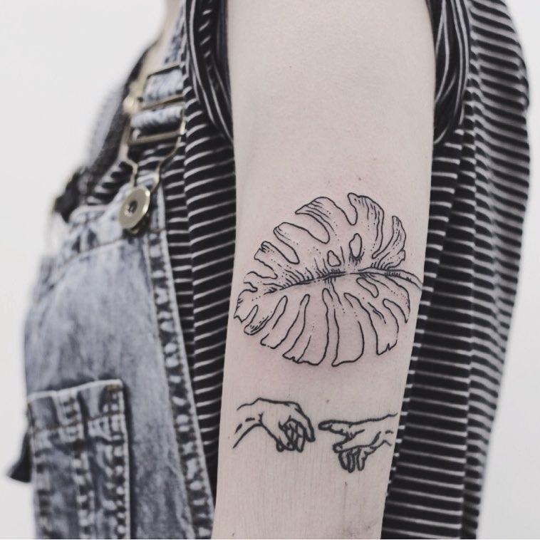 Monstera leaf Creation of Adam tattoo