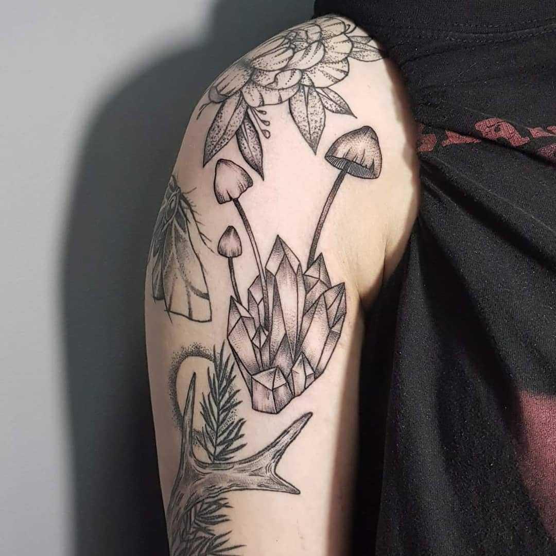 Mushroom and crystals tattoo