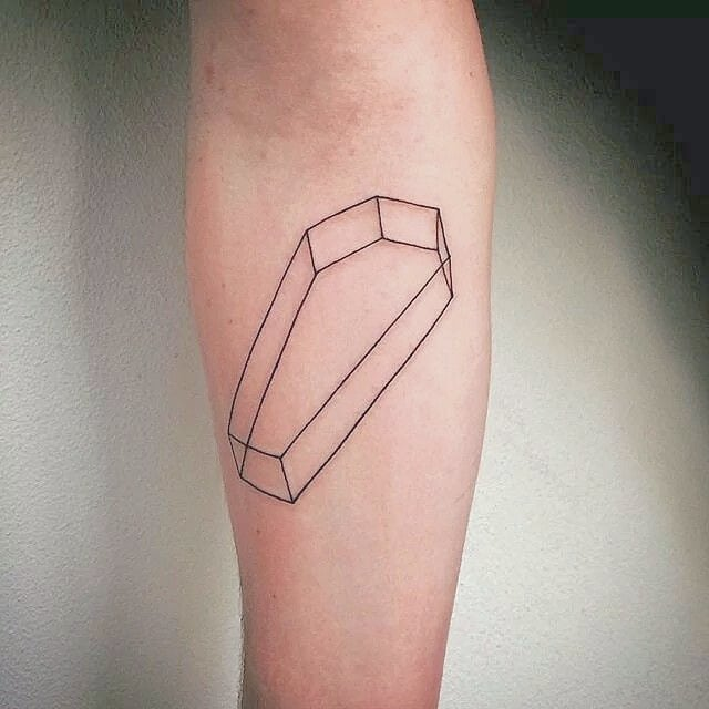 Outline coffin tattoo