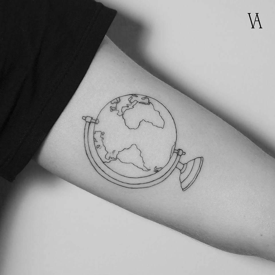Outline earth globe tattoo