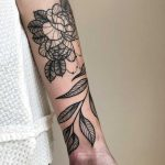 Peonies and leaves tattoo