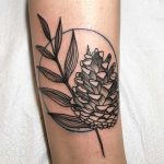 Pine cone and fern leaf tattoo