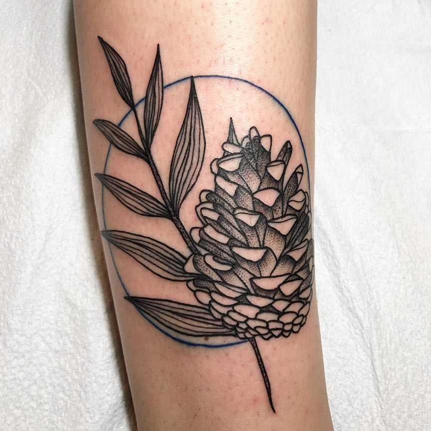 Pine cone and fern leaf tattoo