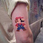 Pixel art mario bros tattoo