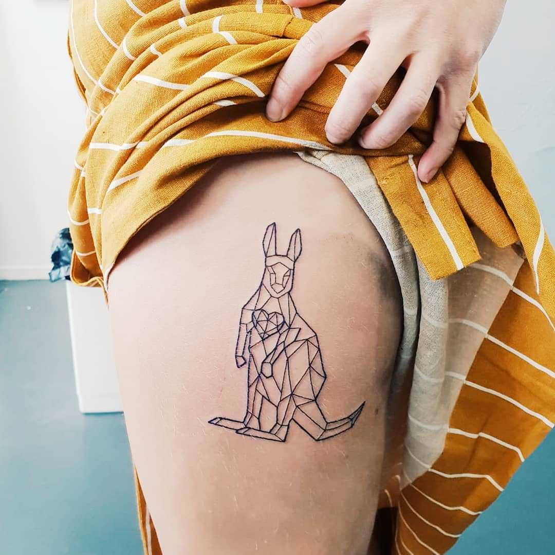 Polygonal kangaroo tattoo by Michael Bak