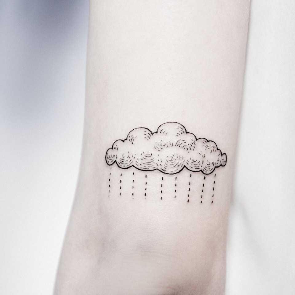 Rain cloud tattoo by Dogma Noir