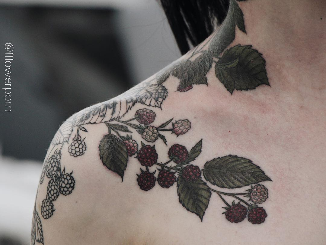Raspberry bush tattoo