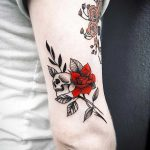 Red rose and skull by Bek
