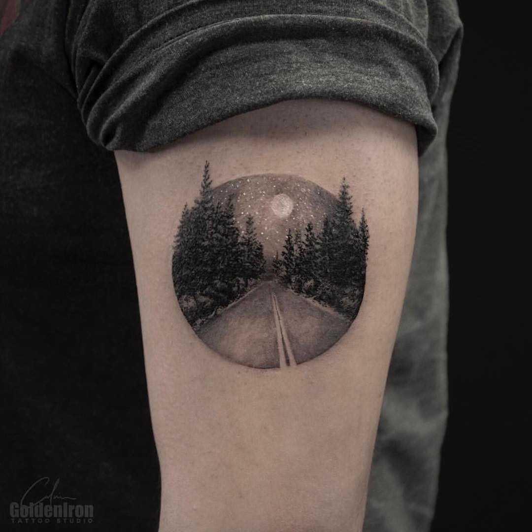 Road scenery tattoo by Calvin Grxsy