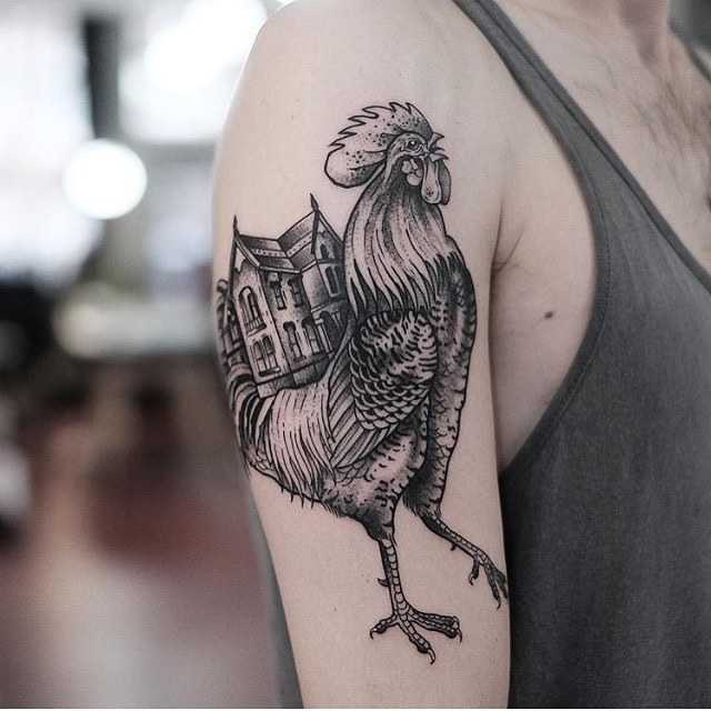 Rooster and house tattoo by jonas ribeiro