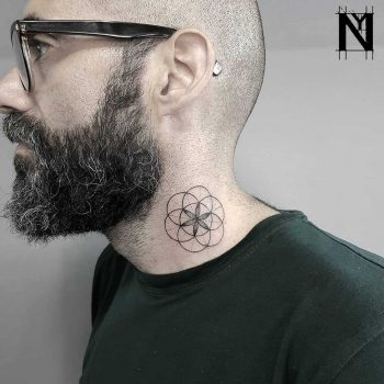 Seed of Life tattoo on the neck