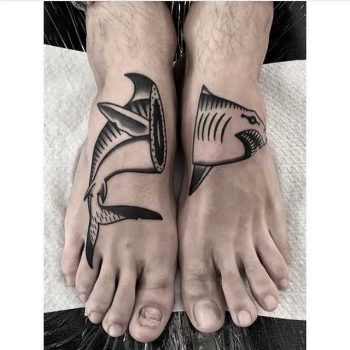 Shark tattoo on feet by ana