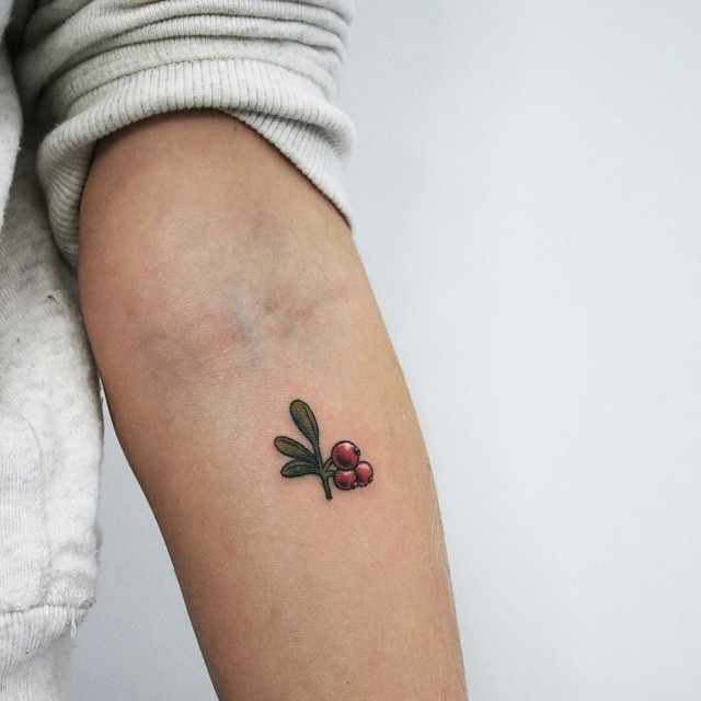 Small cranberries on the forearm