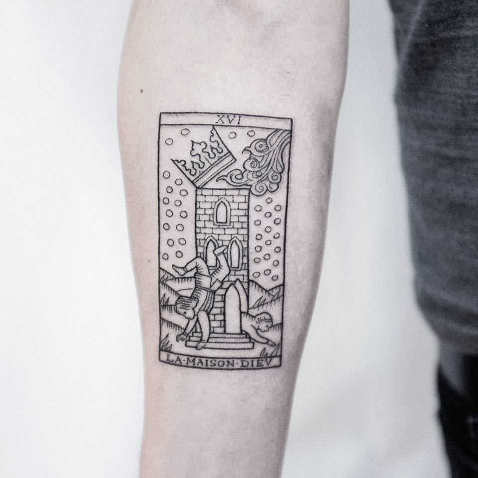 Tarot card medieval style tattoo by Dogma Noir
