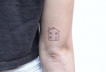 Tiny house tattoo by Lindsay April