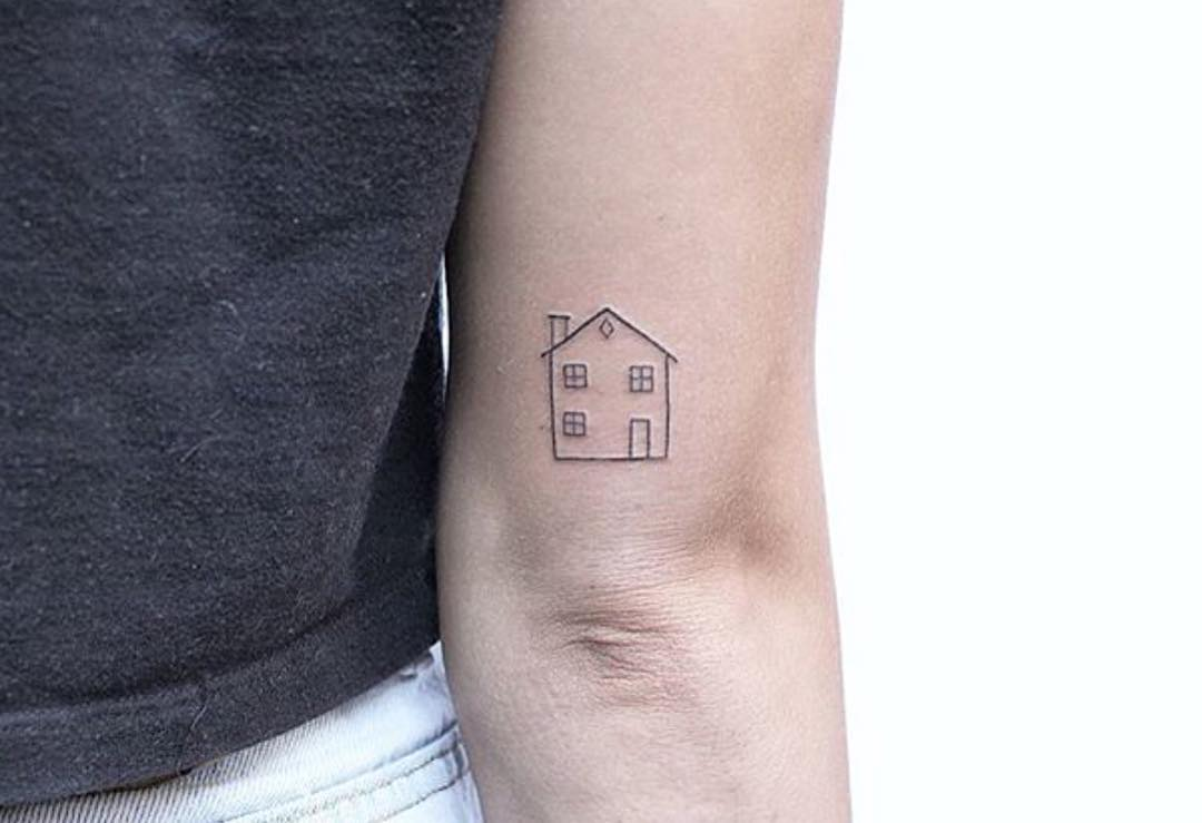 Tiny house tattoo by Lindsay April