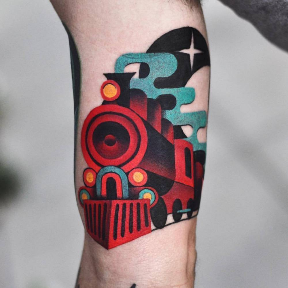 Train tattoo by David Côté