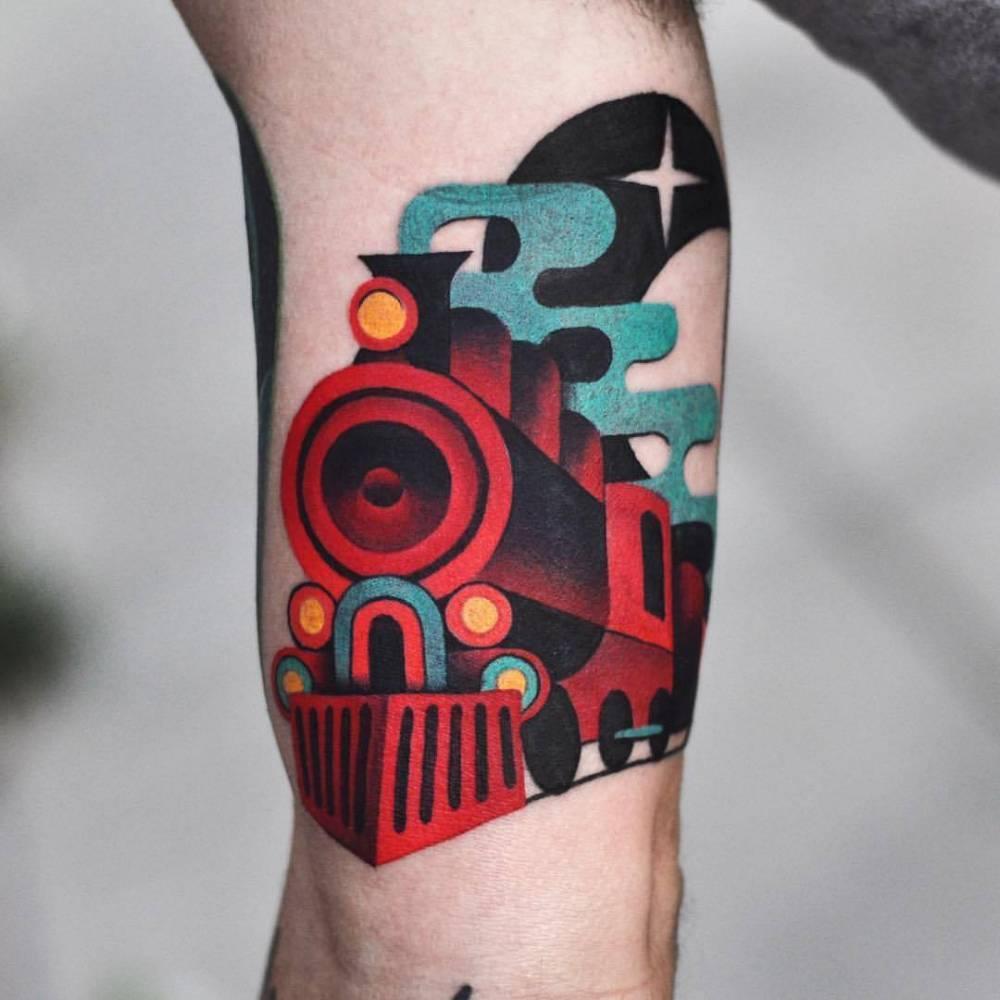 Train tattoo by David Côté