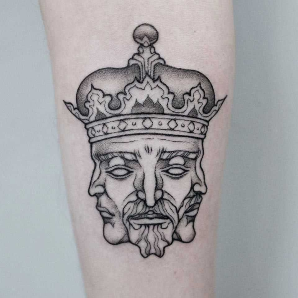 Triple king's face tattoo by Dogma Noir