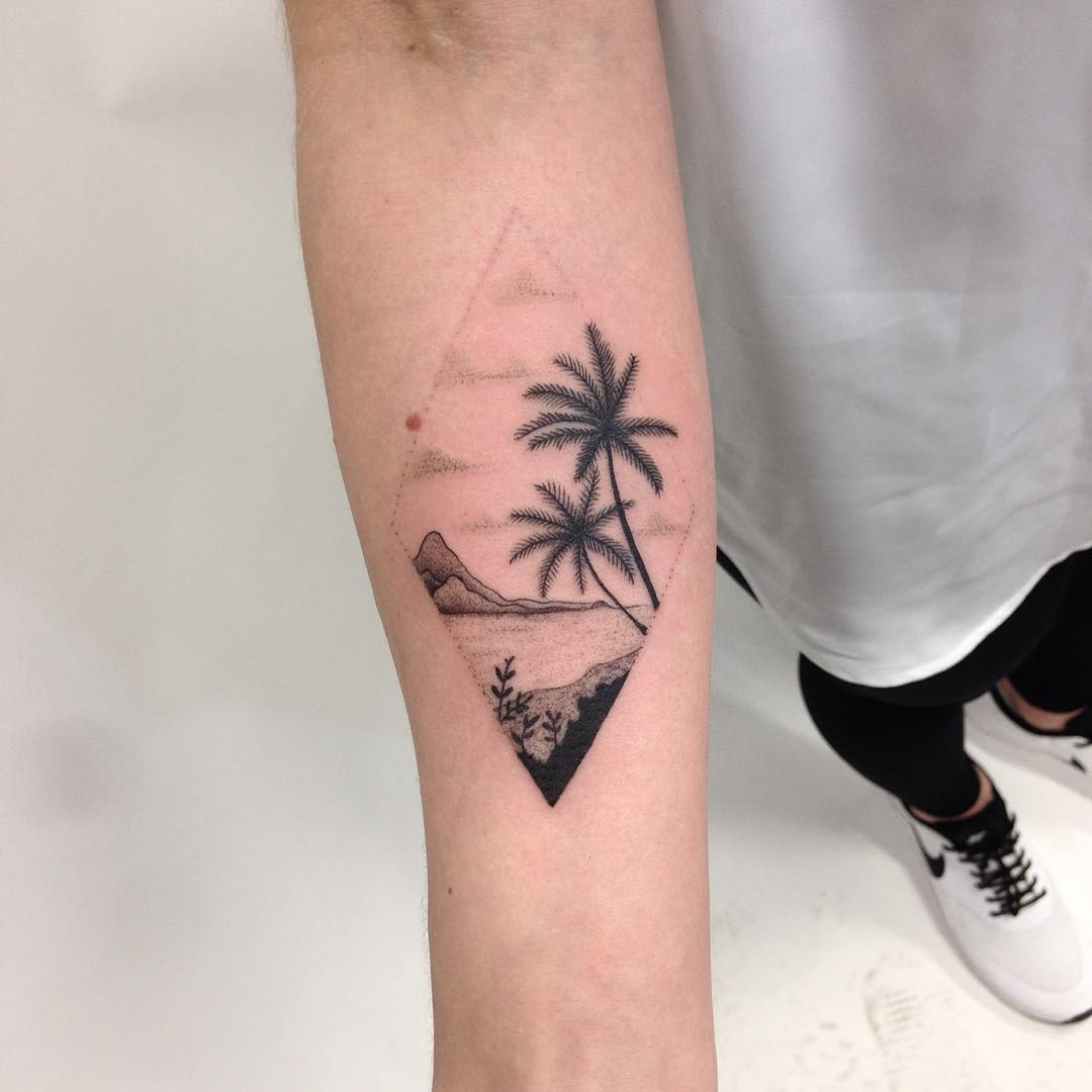 Tropical island scenery tattoo