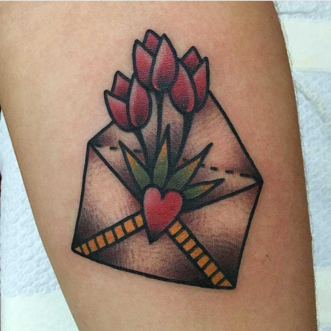 Tulip envelope tattoo by Jeroen Van Dijk