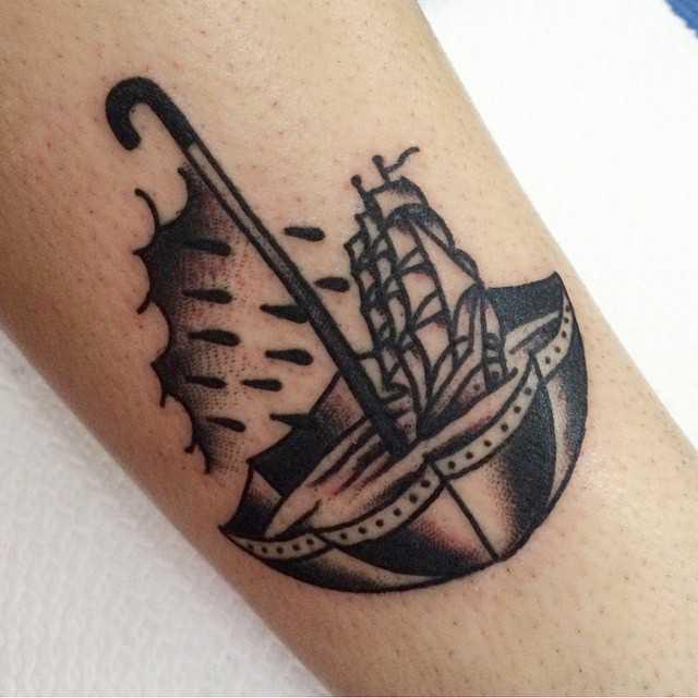 Umbrella tattoo by Ryan Cooper Thompson