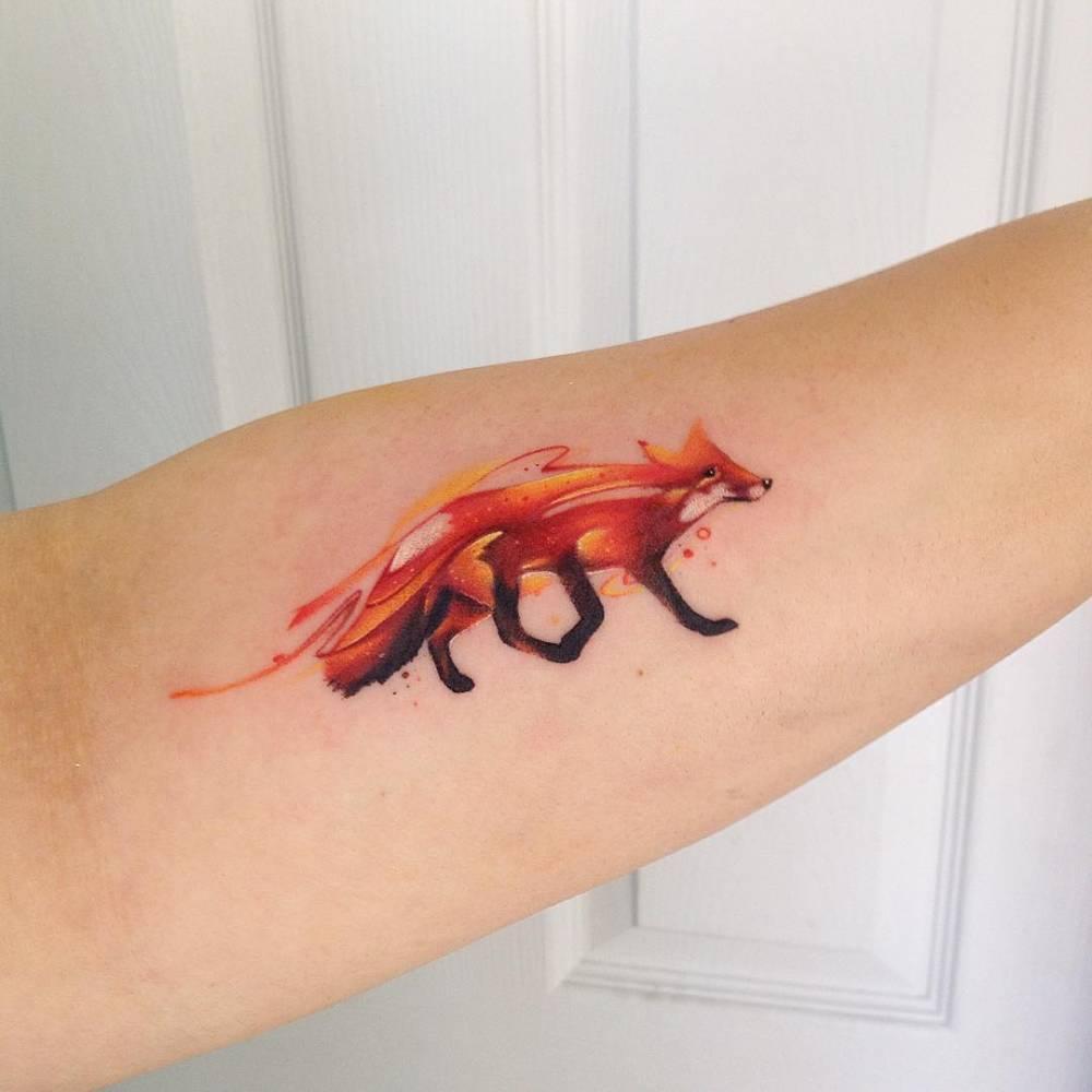 Watercolor firefox tattoo