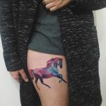 Watercolor horse tattoo by Sasha Unisex