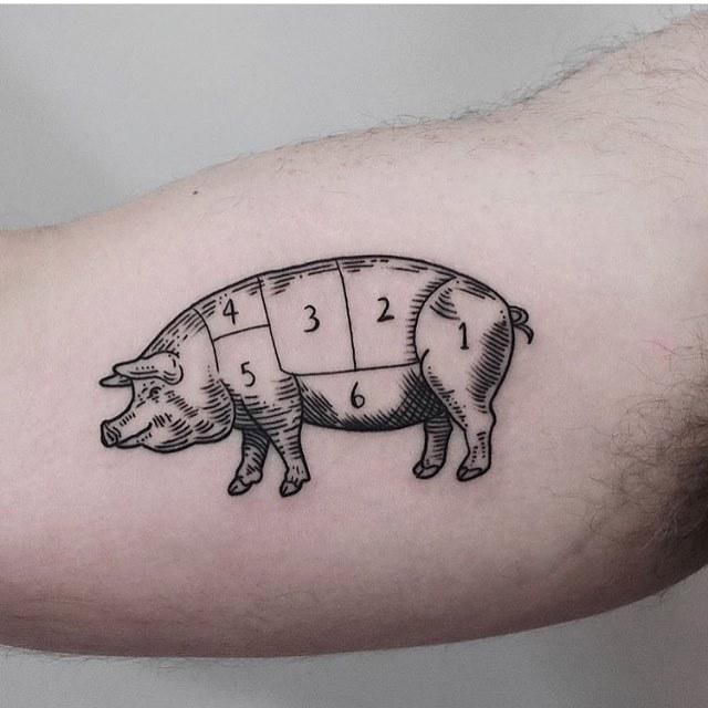 Woodcut style pig tattoo by jonas ribeiro
