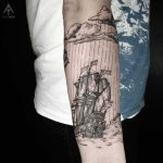 Woodcut style ship tattoo by Ilayda Atlas