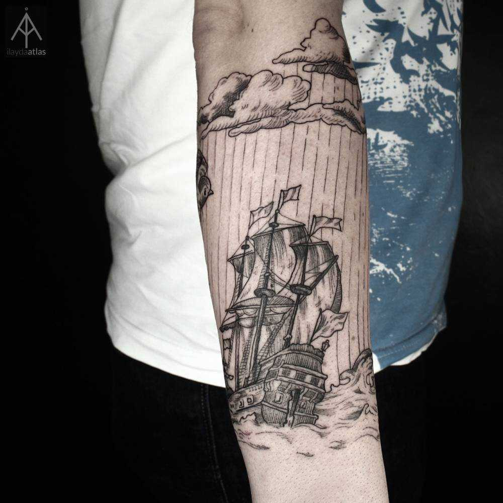 Woodcut style ship tattoo by Ilayda Atlas