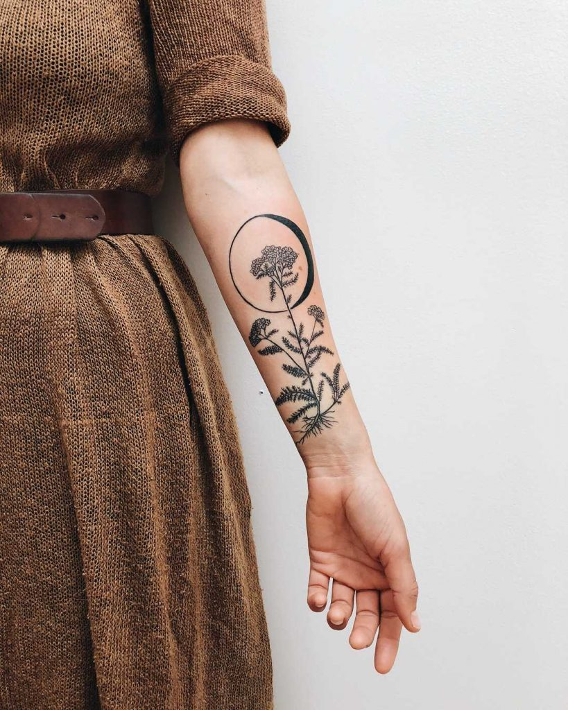 Yarrow and the Waning Gibbous moon tattoo