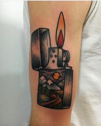 Zippo lighter tattoo by jeroen van dijk