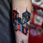 Abstract architecture tattoo by David Cote