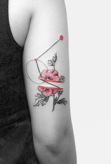 Abstract flower piece on the arm