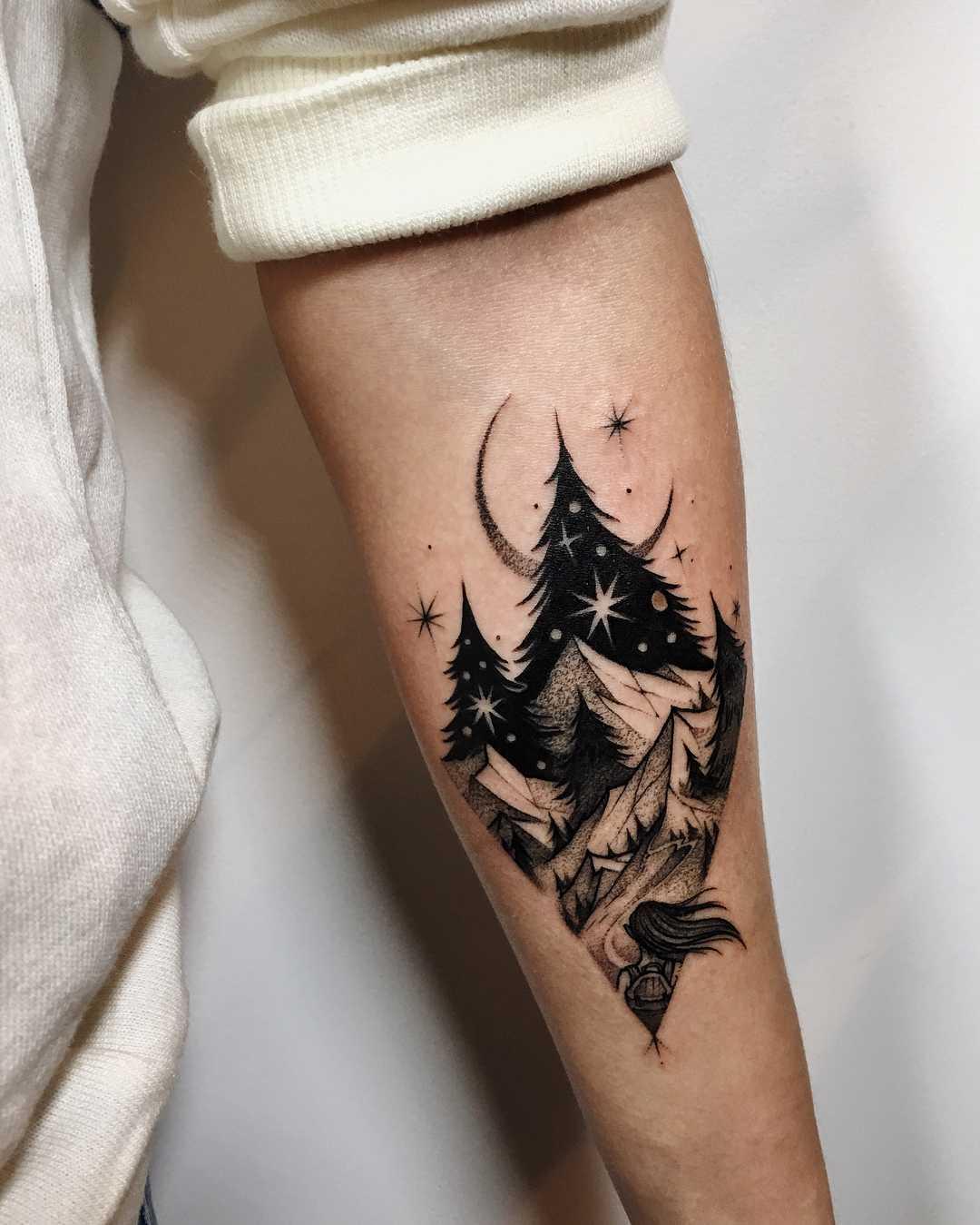 Beautiful black scenery tattoo by Sasha Kiseleva