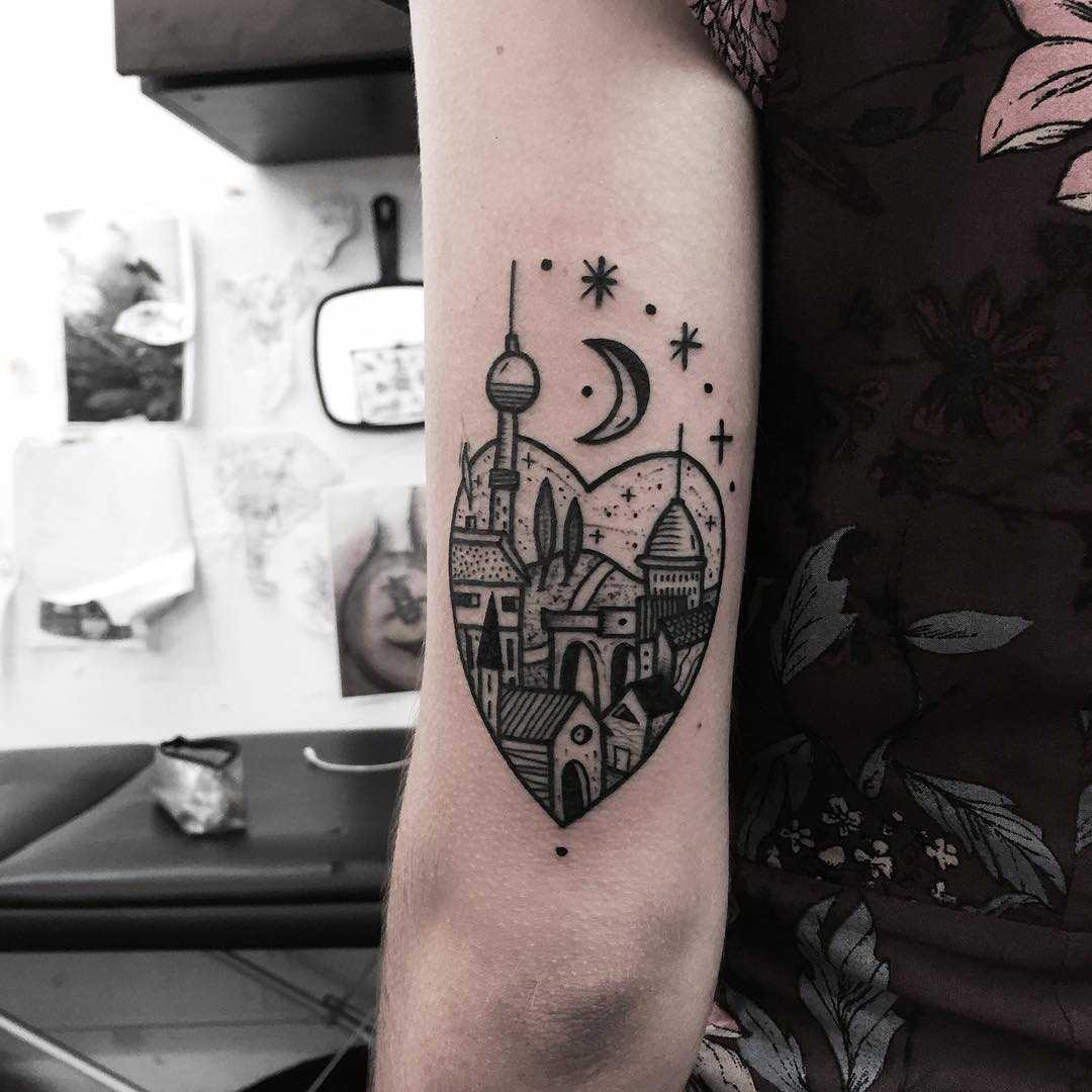 Berlin town scenery tattoo