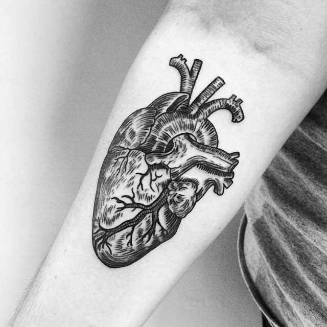 Black anatomical heart