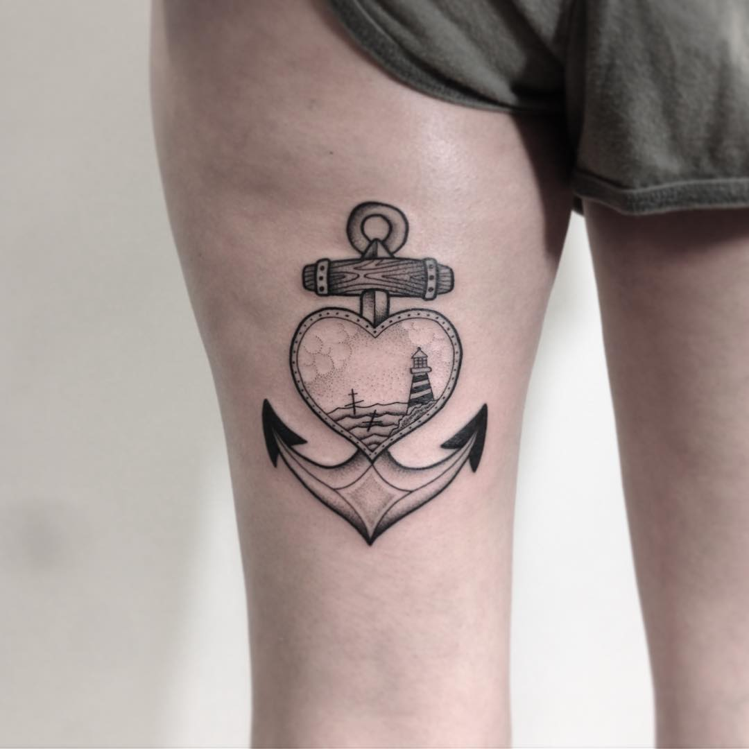 Black anchor and heart tattoo