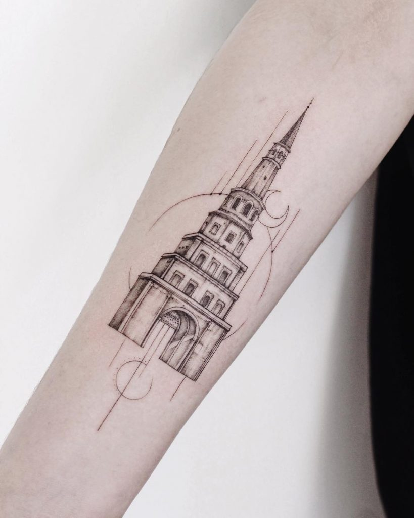 Black and grey tower tattoo