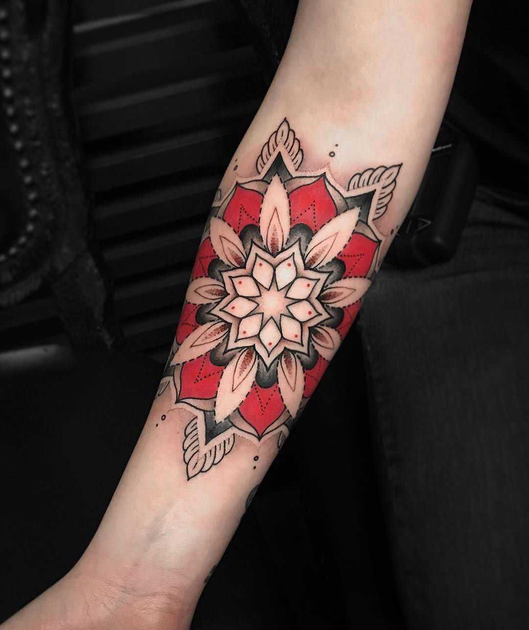 Black and red mandala by Lazer Liz