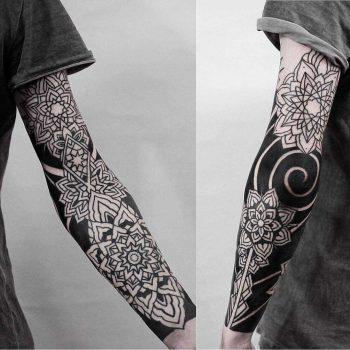 Black and white sleeve piece by Jonas Ribeiro