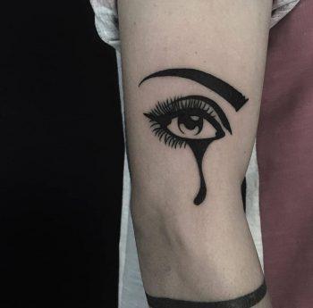 Blackwork crying eye tattoo