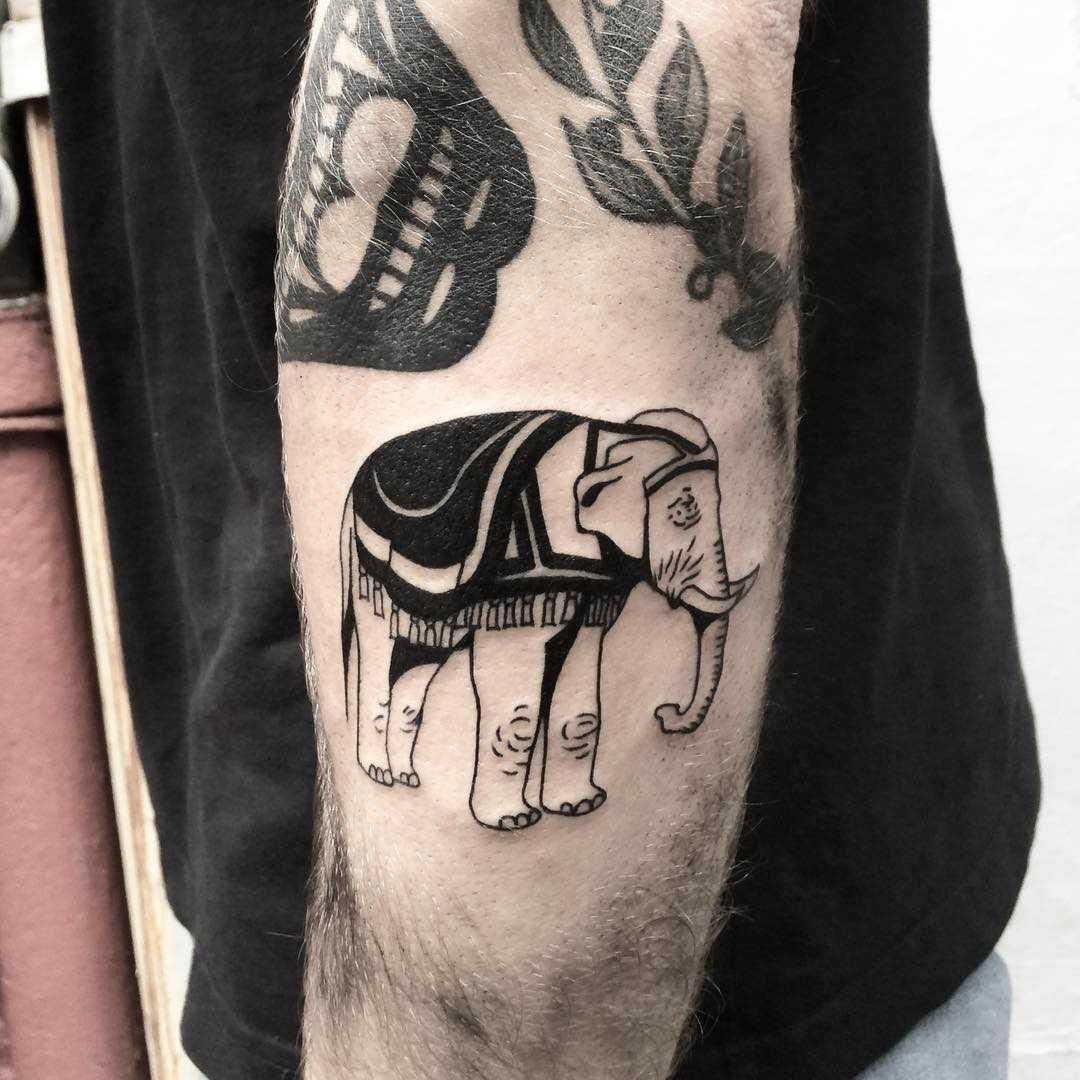 Blackwork elephant tattoo