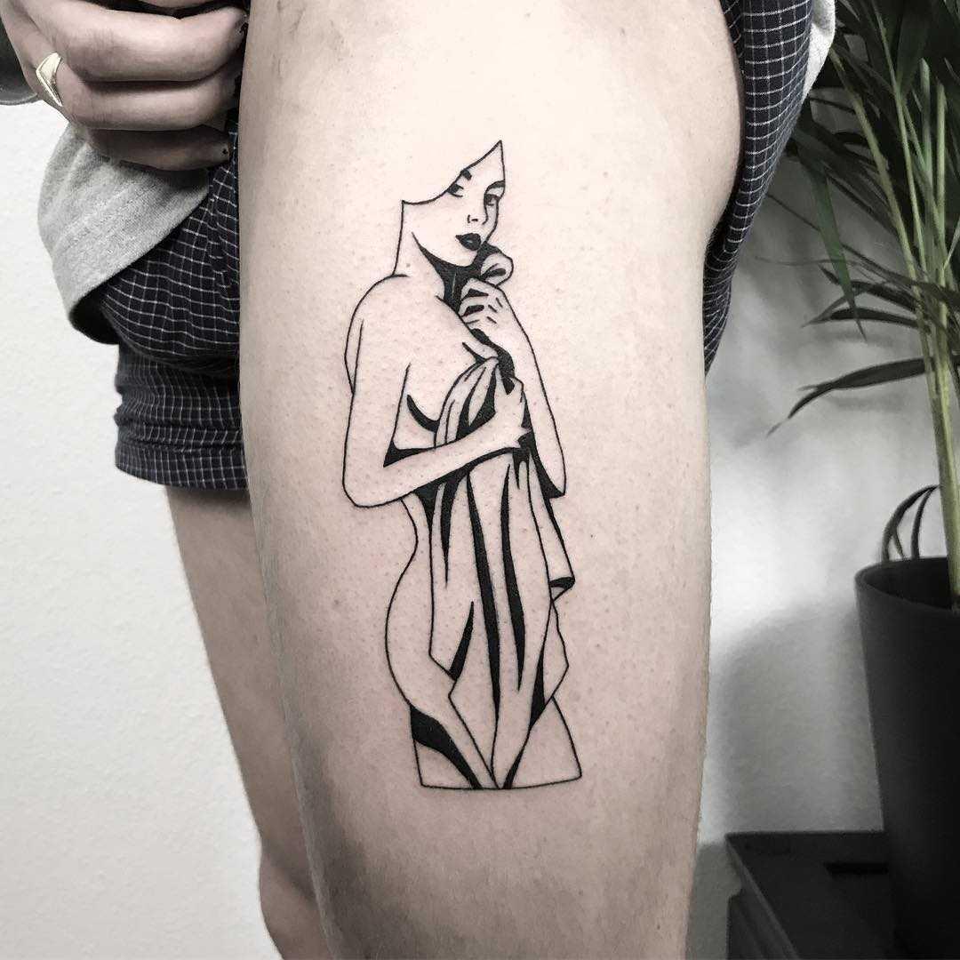 Blackwork style babe tattoo