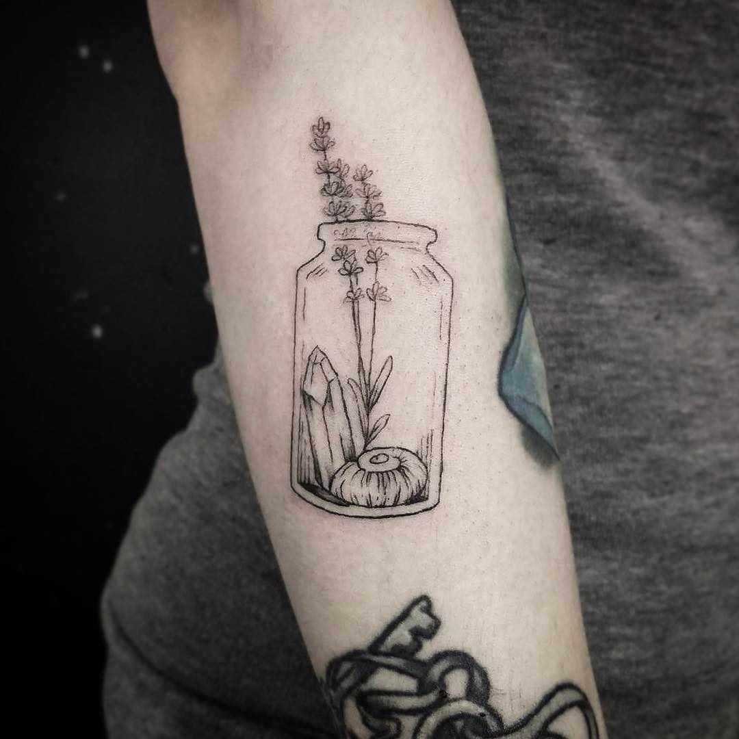 Bottle of curiosity tattoo by E.K.EK.Tattoos