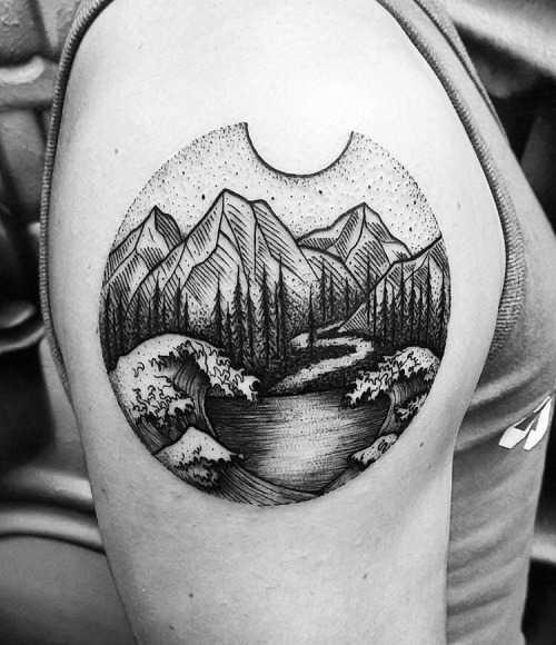 Cool landscape tattoo by Thomas Eckeard