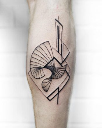 Crazy abstract lines tattoo