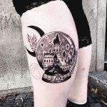 Crystal ball with Hogwarts scenery tattoo