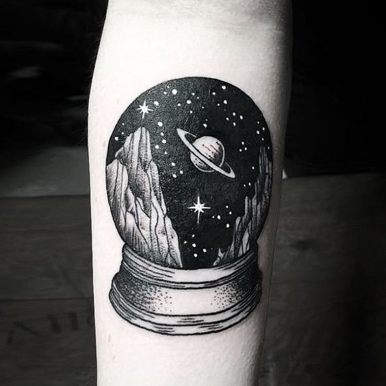 Crystal ball with a starry sky